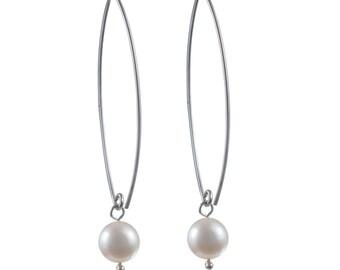 Silver Earrings - Pearl