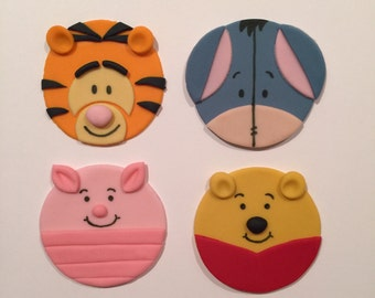 12 Winnie the Pooh Inspired Cupcake Toppers-Fondant