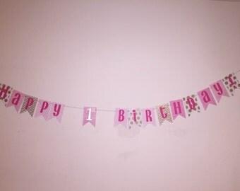 Happy 1st Birthday Banner, Pink, Gold