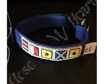 Personalized Signal flag dog collar