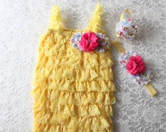 yellow petti romper,yellow lace romper,yellow romper,photo prop romper,birthday romper,lace romper,baby lace romper,baby girl outfit,rompers