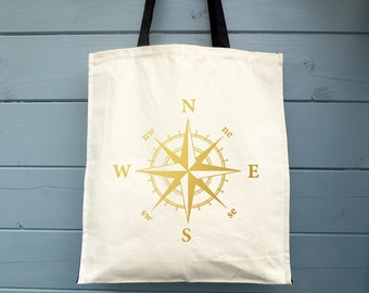 Compass Rose, Cotton Bag, Compass, Tote Bag, Travel Bag, Canvas Bag, Shopping Bag, Grocery Bag, Shopper, Market Bag, Adventurer, Nautical