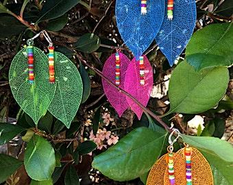 Bright Morocco Bay Leaf Earrings