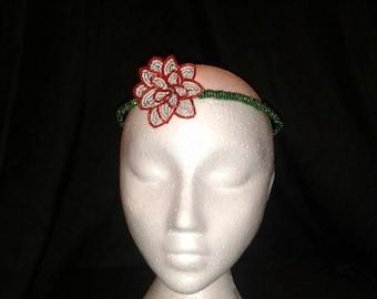 Beaded red rose crown