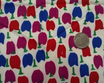 """Vintage fabric, BOLD COLORS,1ydx45"""",purplish blue,maroon,red,stylized FLORAL,small print"""