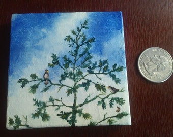 Birds on Branches miniature canvas painting
