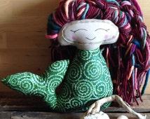 Wildflower Mermaid, 8 inches, cloth doll, ooak, glitter