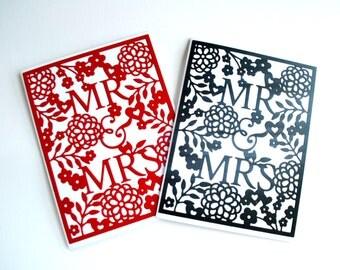Wedding Card / Mr and Mrs Card / Handmade