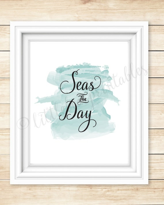 wall art seas the day beach theme decor printable nautical. Black Bedroom Furniture Sets. Home Design Ideas