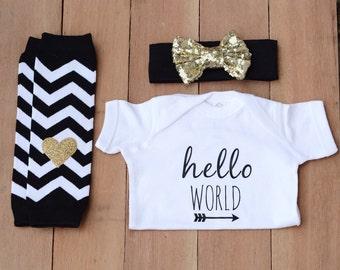 Hello World Baby Bodysuit Newborn Onesie Newborn Bodysuit Coming Home Outfit Newborn Outfit Baby Shower Gift Hello World Onesie