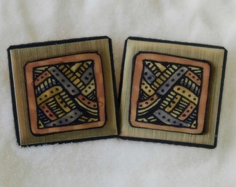 New Enameled Earrings by US Artist Fun Geometric unique design very rare no tags