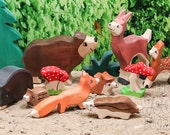 SALE 20% Off- Wooden toy wild animal set, 8 Wooden toys, Forest Set, Deer, Fox, Bear, Zoo, Toys for Kids, Partyfavors for Boys Girls