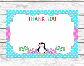Winter Wonderland Penguin Thank You Cards, Winter Candyland Onederland Printable Girl Birthday Thank You Note Card, First 1st Birthday