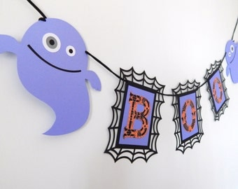 Boo Banner, Happy Halloween, Halloween Banner, Blue and black Halloween banner, Ghost Banner, Boo, Halloween Party Decor