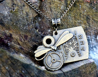 Steampunk necklace Clock necklace  Alice in wonderland necklace Watch Jewelry Steampunk with gears Clock Charms Time Industrial jewelry Gift