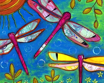 Dragonfly Feast 8x8 giclee