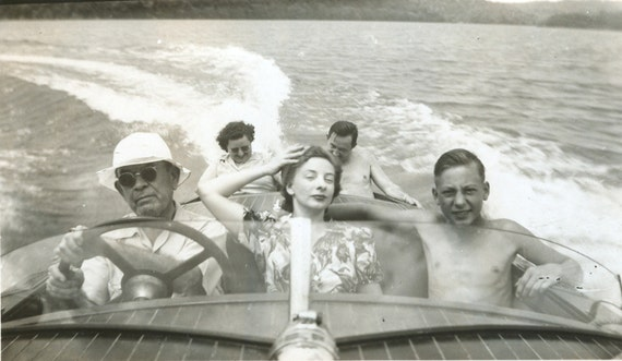 Vintage photo 1950s family outing boat ride boating antique photograph PRINT