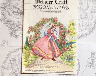 Crinoline Lady Iron on Embroidery transfers 8 Pack by Webster Craft