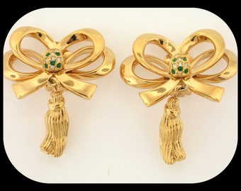Vintage haute Couture Ribbon Bow with Drop Gold Plated Rhinestone EARRINGS 30.22GR