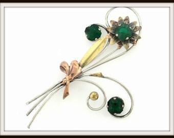 Vintage designer PR. ST. CO. flower sterling silver & 12k gold filled rhinestone brooch