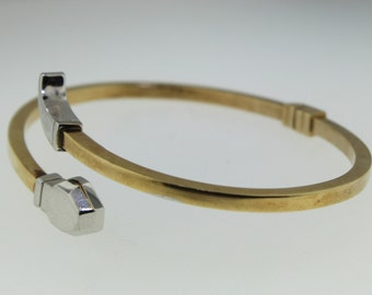 Vintage Estate Jewelry - Two-Tone White & Yellow 14k Gold Bangle Cuff Bracelet - Made in Italy