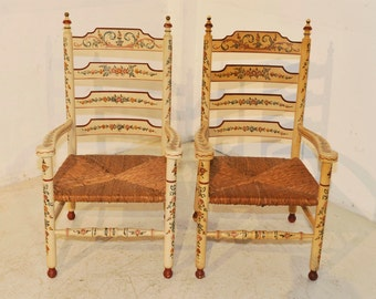Antique Dutch Painted Arm Chairs with Floral Painting #5501