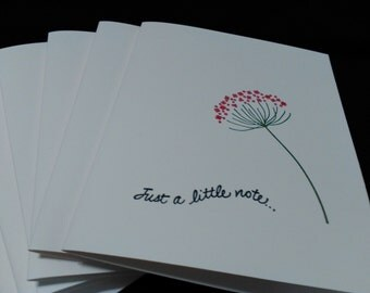 Note cards Set of 6 /Just a little note with red flower