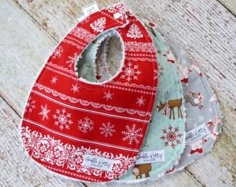Holiday Bibs - Christmas Bibs - Nordic Bib - Woodland Bibs - Baby's First Christmas Bibs - Stocking Stuffer - Baby Shower Gift - Xmas Gift