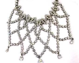 Theatrical Cubic Zirconia Collar Necklace with Tiara