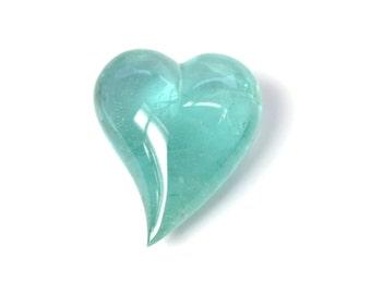 Aquamarine blue Heart Carving curved natural gemstones