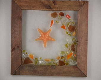 Catching a wave. Beach glass, Sea glass,  Starfish Framed Art