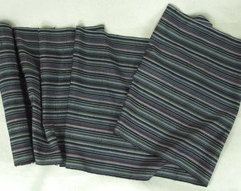 Vintage Japanese Kimono Fabric, Tsumugi, Raw Silk, Stripe.