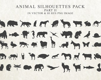50 Wild Animal Silhouette Clipart, Animal Clip Art, Animal Clipart PNG & Vector EPS, AI Design Elements Instant Download