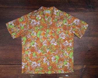 Vintage Short Sleeve Button Up Shirt Hawaiian Shirt - XL