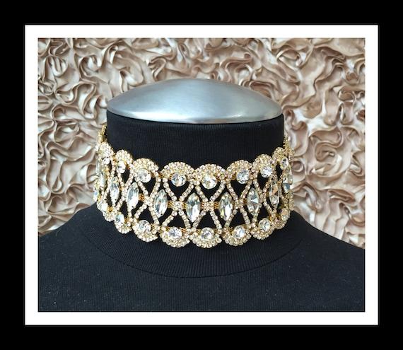 Gold Vintage Rhinestone Choker #C101