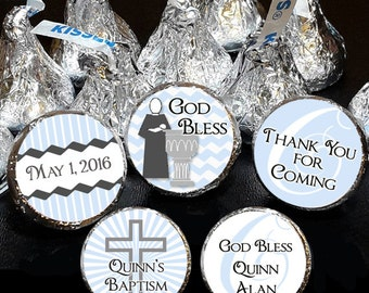 108 Hershey Kiss® Stickers - BOY & GIRL BAPTISM Favors, Christening Favors, Candy Stickers