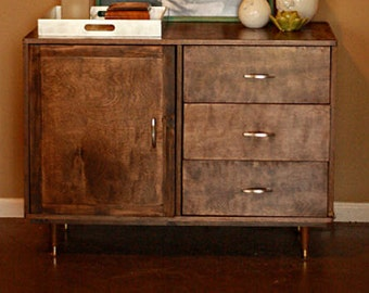 Rustic Mid Century Modern Credenza Console Table with drawers and cabinet storage on legs