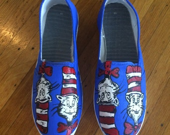 Dr. Seuss Cat in the Hat Hand Painted Shoes - Cat in the Hat - Dr. Seuss - Kids Shoes - Adult Shoes - Kids Books - Gifts Under 50