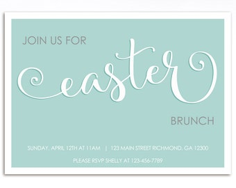 Easter Invitation, Easter Brunch Invitation, Easter Egg Hunt Invitation, Printable Invitation, Birthday Invitation, Easter Invite, Green