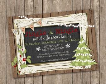 Christmas Party Invitation - Jingle and Mingle - Chalkboard - printable 5x7