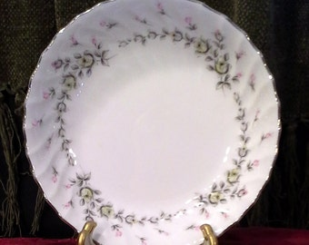 """2 Berry Bowls-""""Picardy"""" pattern-Pink & Yellow Roses-gray leaves-swirled-Platinum trim-Style House Fine China-Made in Japan-3 available"""
