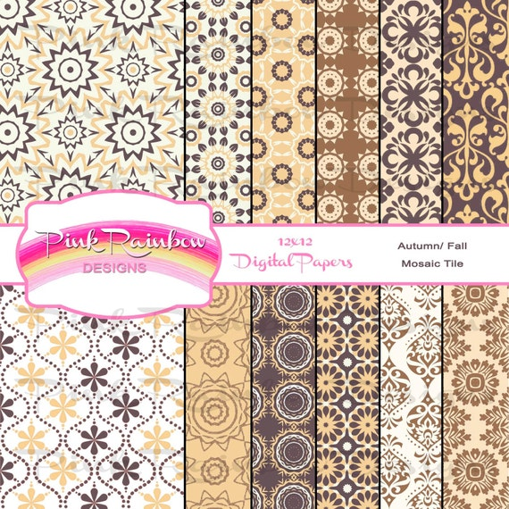 25 Creative Patchwork Tile Ideas Full Of Color And Pattern: Autumn Fall Mosaic Tile Pattern Digital Scrapbook Paper