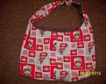 homemade reversible Ohio State hobo bag