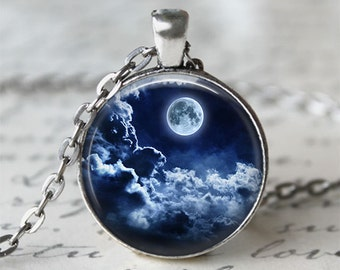 Full Moon Necklace • Night Sky • Storm Cloud • Moon Jewelry