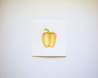 Orange Bell Pepper (original watercolor painting)