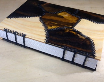Stitched wooden cover notebook - Coptic stitch binding - handmade