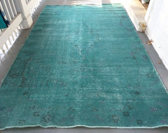 Green Overdyed Rug Etsy