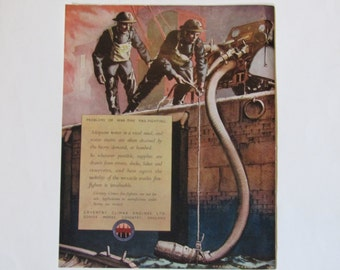 "Coventry Climax Engines LTD ""Problems of War-Time Fire-Fighting"" England WWII 1942 Ad"