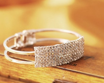 Jewelry Imitation Diamond Full Crystal Bracelet/ Fashion Luxury Silver Color Plated Crystal Diamond Shine Bracelet/Bangle