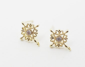 E0080/Anti-tarnished Gold Plating Over Brass/Cubic Zirconia Antique Rhombus Earrings/10x13mm/2pcs